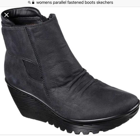 3e021b997ea7 Parallel Fastened Wedge Ankle Boot Skechers. M 5bd49e27951996f7c7bff911